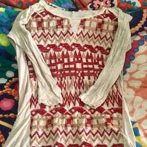 Anthropologie Tribal Embroidered 3/4 Tee